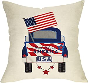 "Softxpp God Bless America Home Decorative Throw Pillow Cover, July 4th USA Flag Patriotic Cushion Case Decor Truck Sign, Holiday Square Pillowcase Spring Summer Decorations for Sofa Couch 18"" x 18"""