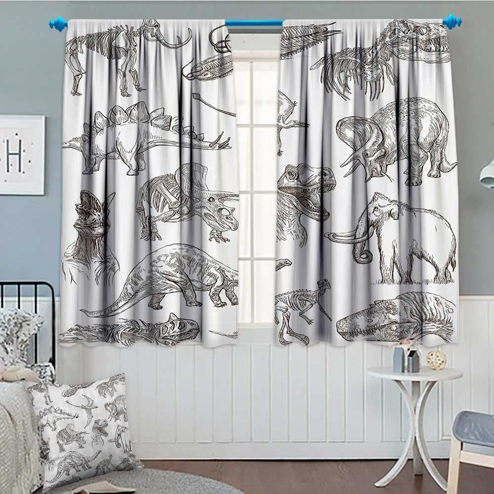 SeptSonne Jurassic Thermal/Room Darkening Window Curtains Collection of Various Dinosaurs Illustrations Skeleton Biology Historic Decor Curtains by 72