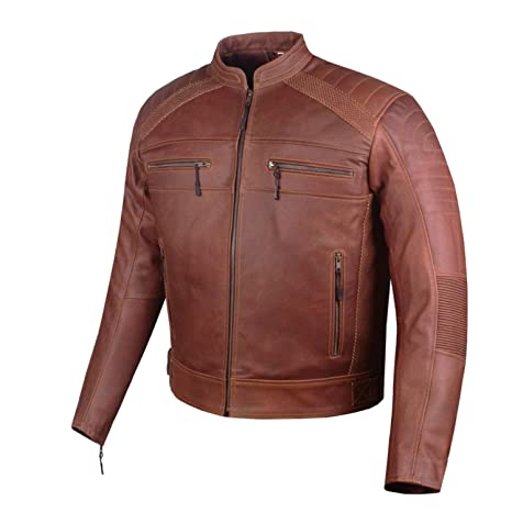 Mens Heavy-Duty Distress Brown Leather Motorcycle Cafe Racer Armor Jacket L