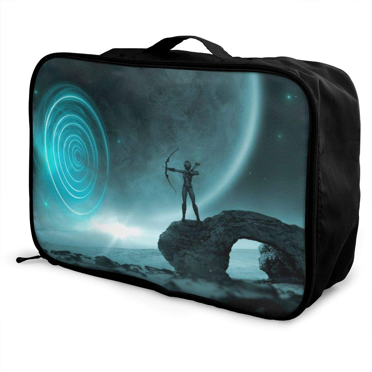 Fantasy Planet Woman Sky Travel Lightweight Waterproof Foldable Storage Carry Luggage Large Capacity Portable Luggage Bag Duffel Bag