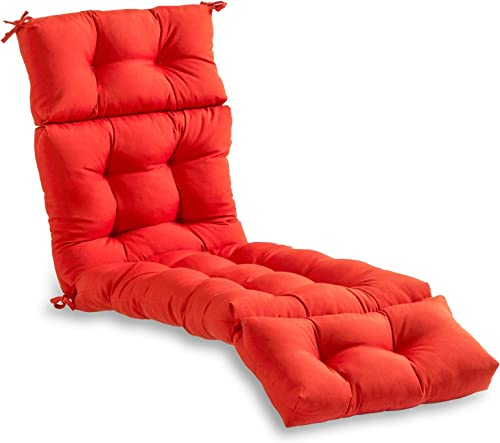 South Pine Porch AM4804-SALSA Solid Salsa Red 72-inch Outdoor Chaise Lounge Cushion