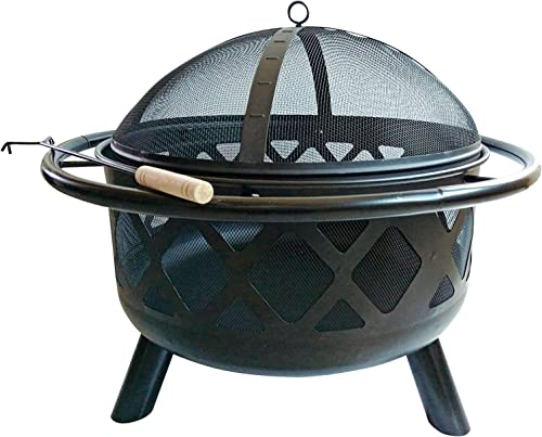 Peaktop CU296 Round Steel Wood Burning Fire Pits