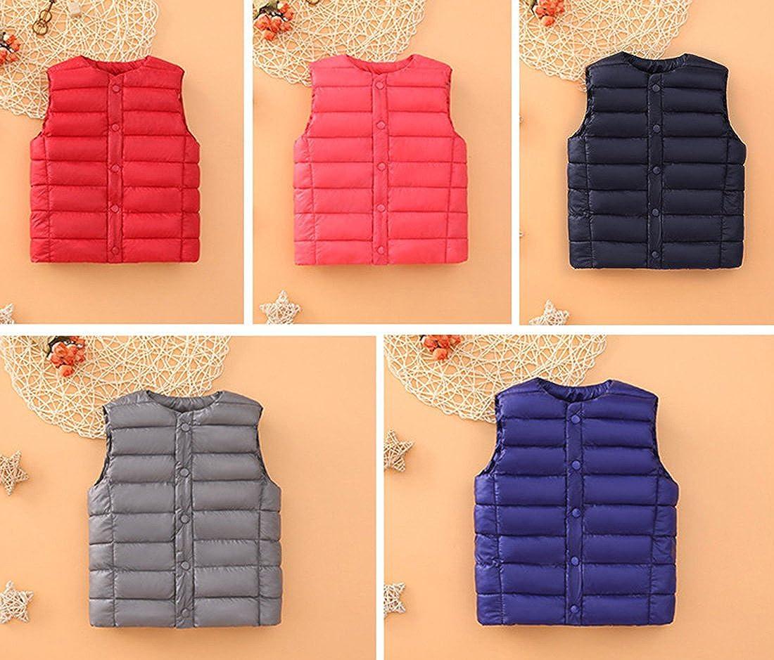 Congcong Unisex Boys Girls Kids Button Down Outerwear Ultra Light Puffer Down Vest