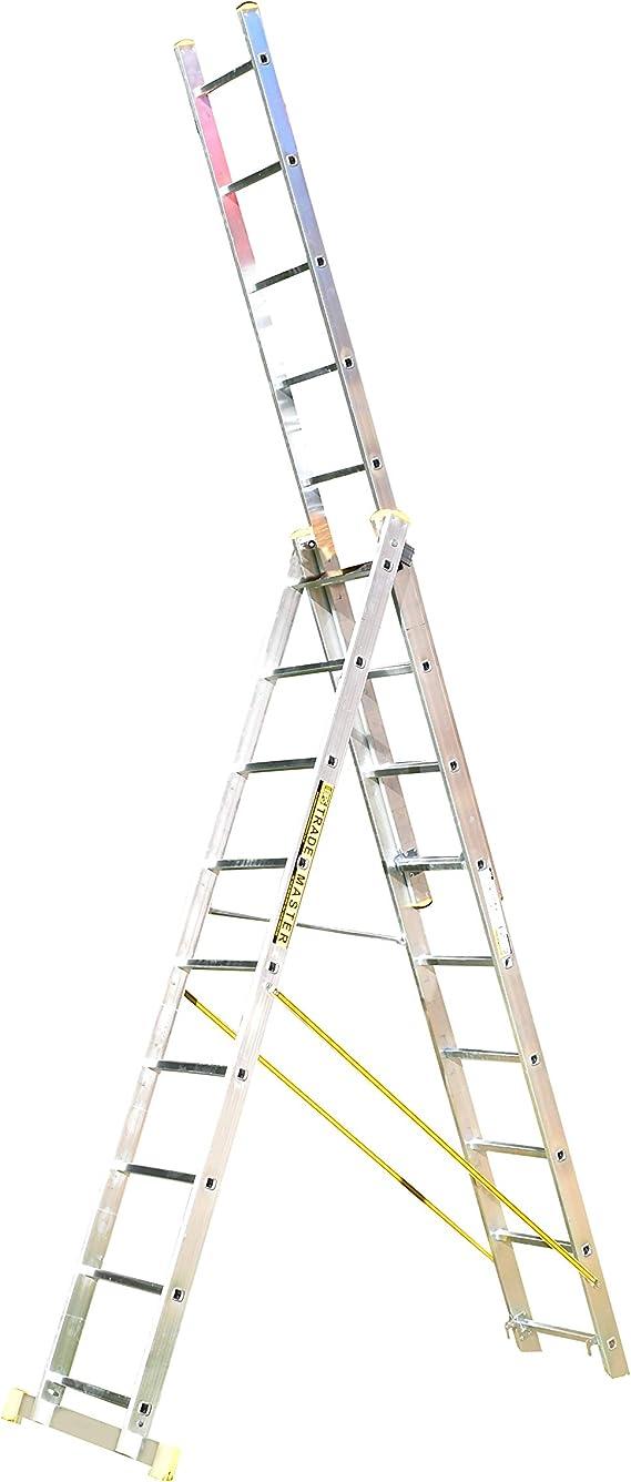 Escalera manual telescópica extensible (9 escalones, apta para apoyar en pared): Amazon.es: Bricolaje y herramientas