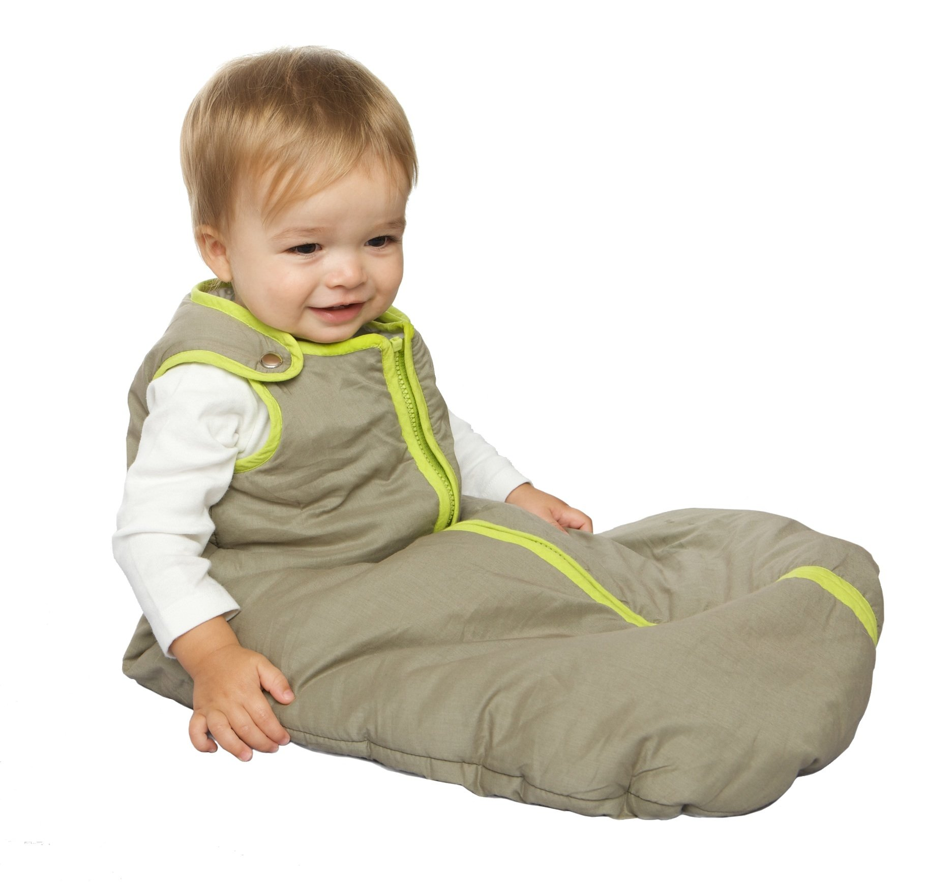 Baby Deedee Sleep Nest Baby Sleeping Bag, Khaki/Lime Green, Medium (6-18 Months)