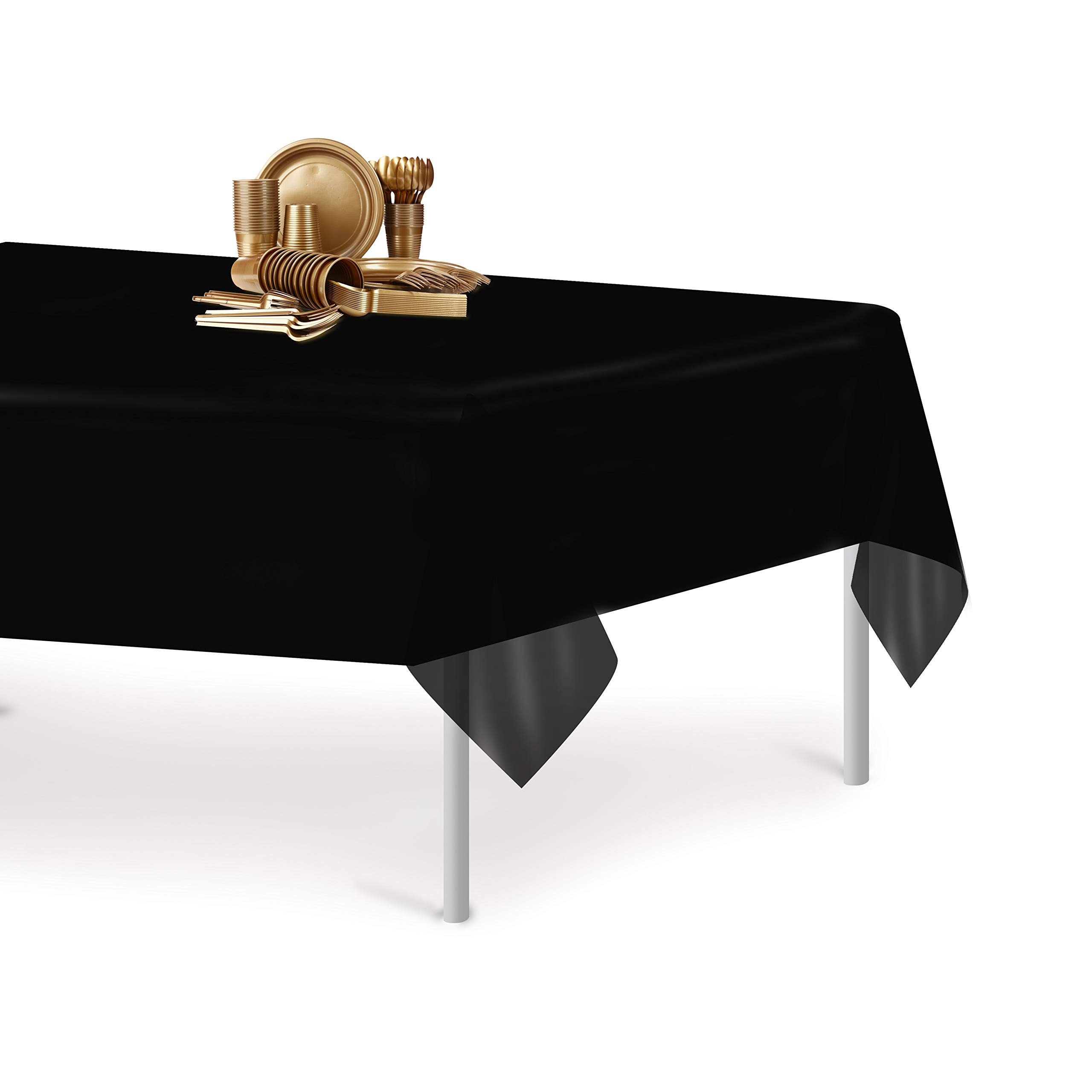 Black 12 Pack Premium Disposable Plastic Tablecloth 54 Inch. x 108 Inch. Rectangle Table Cover By Grandipity by Grandipity (Image #4)