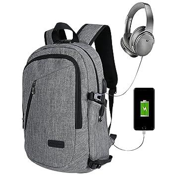 mochila portátil con cargador USB estudiantes mochila mochila escolar antirrobo Mochila Mochila de viaje de negocios para los hombres / mujer (Gris): ...