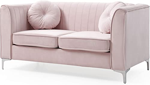 Glory Furniture Delray Loveseat, Pink. Living Room Furniture, 32 H x 65 W x 34 D
