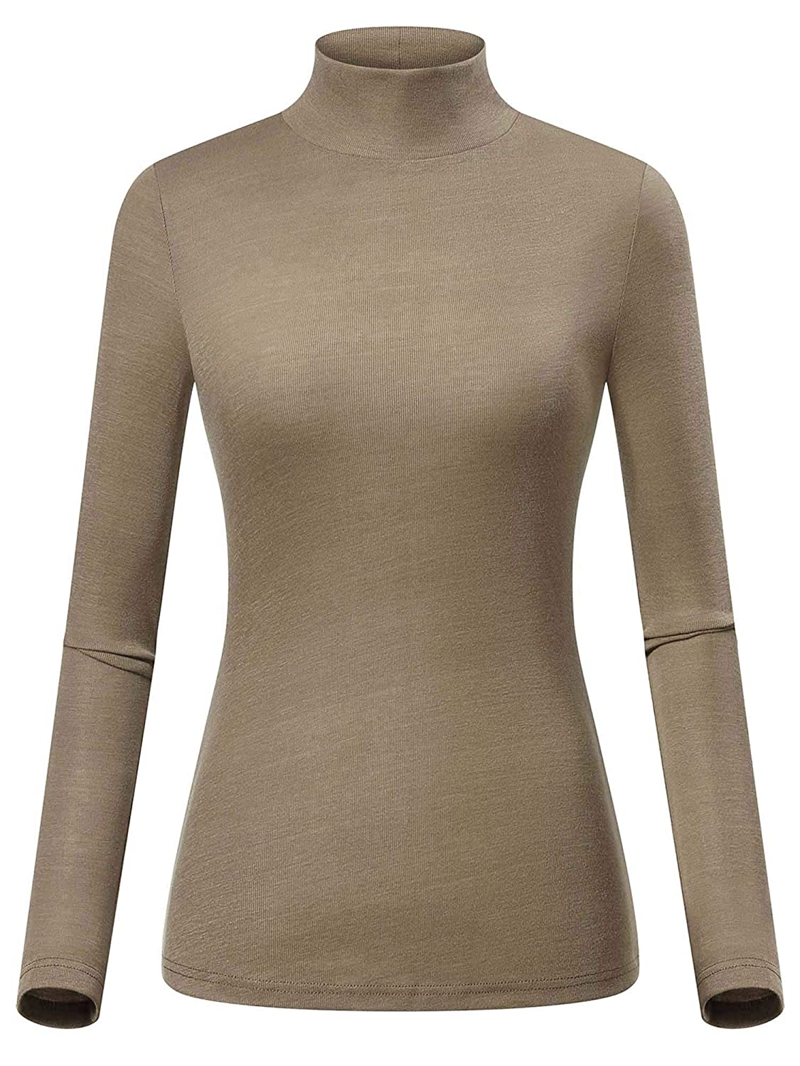 Apricot GUBERRY Women's Mock Neck Long Sleeve Knit Basic Slim Fit TShirt Top