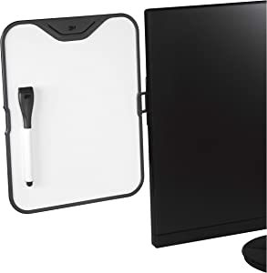 "3M Computer Monitor Whiteboard, Detachable Panel with Magnetic Dry Erase Surface, To Do List, Document Holder, Command Adhesive included 8.5"" x 11"" (MWB100B)"