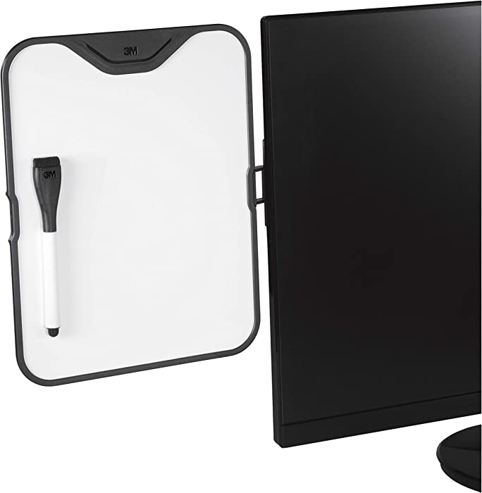 """3M Computer Monitor Whiteboard, Detachable Panel with Magnetic Dry Erase Surface, To Do List, Document Holder, Command Adhesive included 8.5"""" x 11"""" (MWB100B)"""