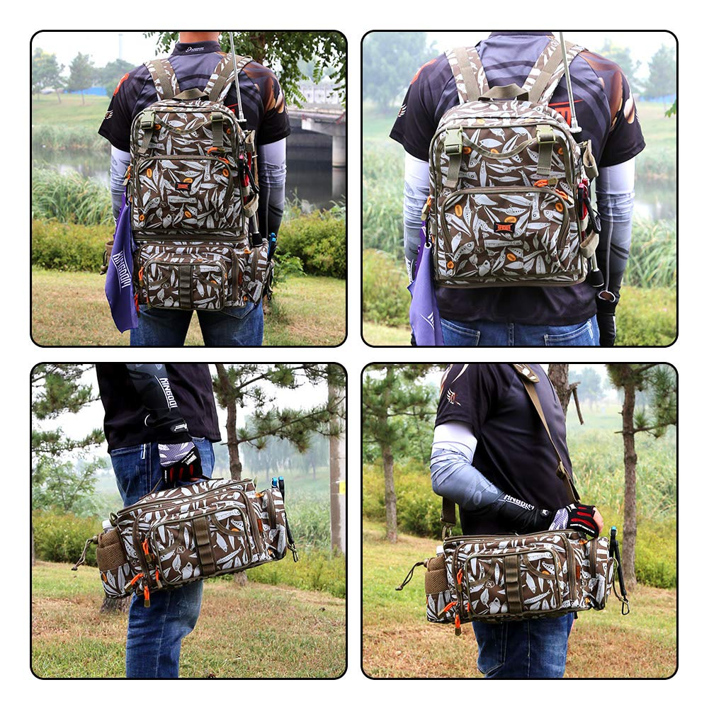 Kingdom Multifunctional Fishing Backpack Waterproof Fishing Lure Tackle Bag with Detachable Combination and Gear Storage and Phone Bag