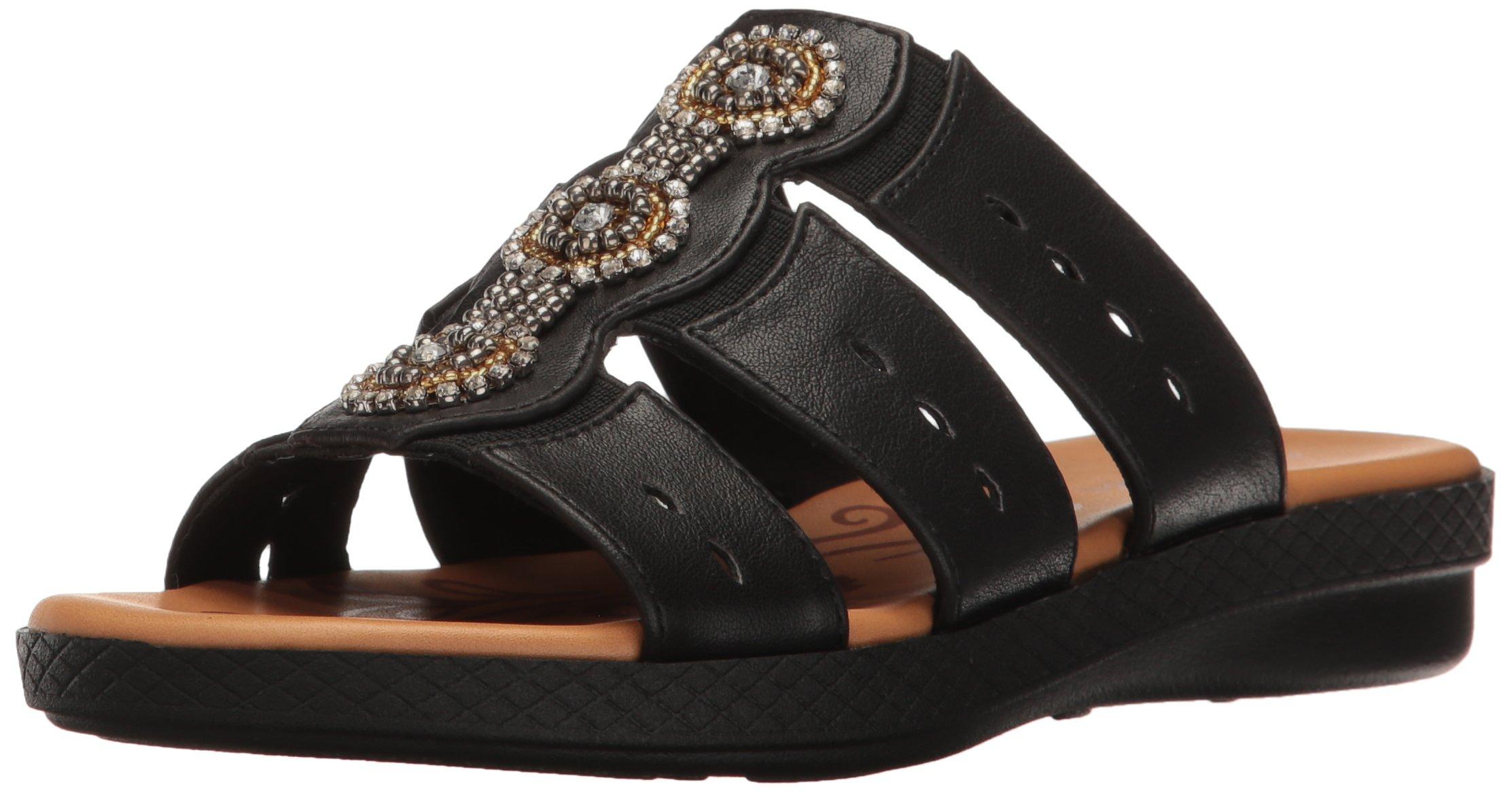 Easy Street Women's Nori Flat Sandal, Black, 12 M US