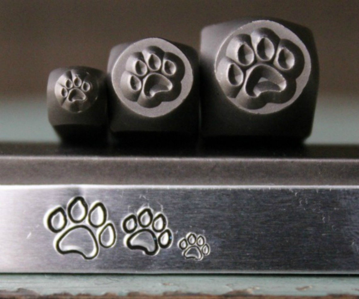 Dog Paw Metal Punch Design Jewelry Stamp Set 3mm, 5mm and 7mm 3 Stamp