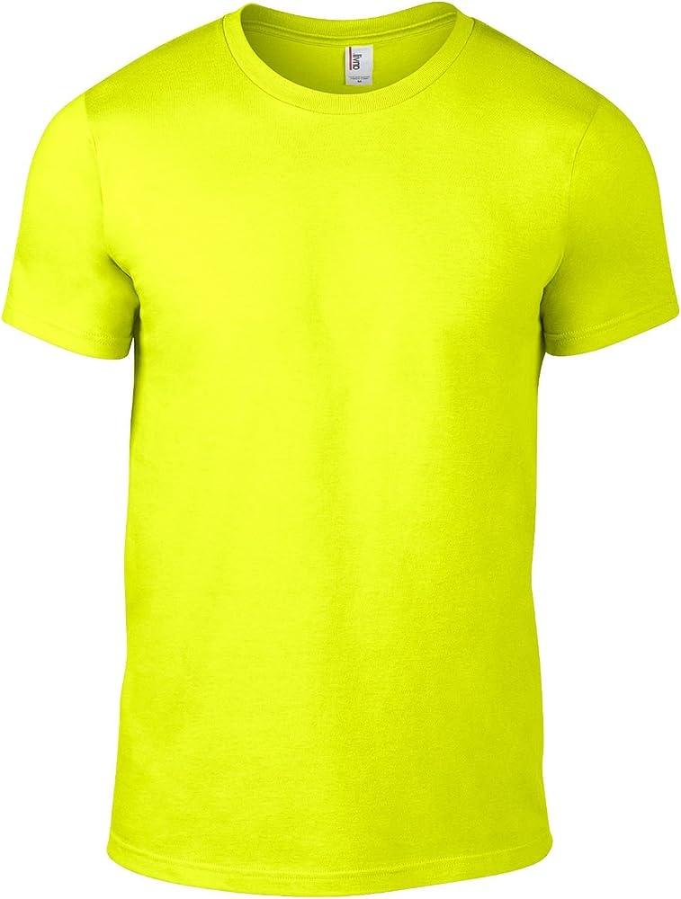 Anvil AV105 - Camiseta básica de algodón para Hombre, Talla XL, Color Amarillo neón: Amazon.es: Ropa y accesorios