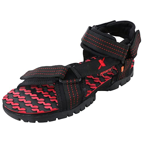 50980f21fd85f1 Sparx Men s Black and Red Athletic and Outdoor Sandals - 10 UK India(SS