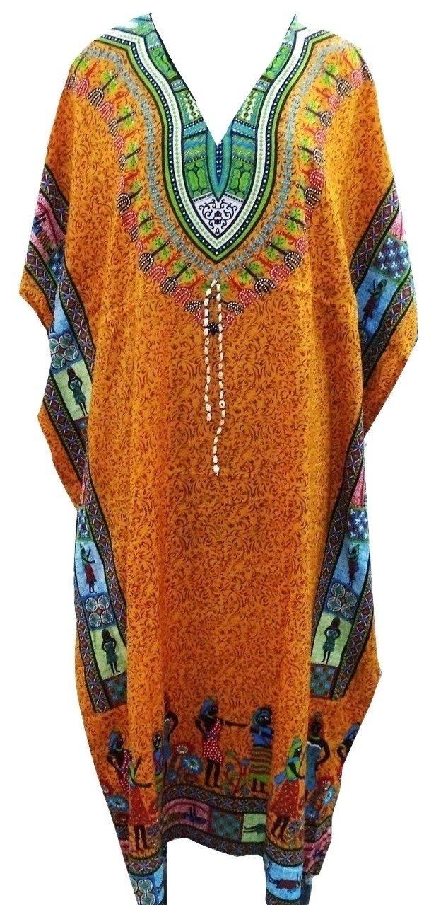 RiSi Women's African Kaftan, V-Neck Kimono Long Caftan Dress One Size / Free Size Yellow