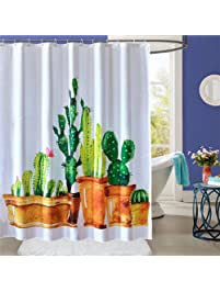 shower curtain mildew resistant waterproof with hooks 72x72 inch cactus design 100 polyester bathroom decor