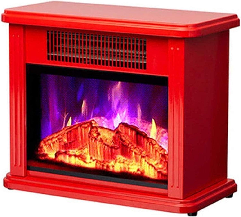 Decorativo Calefactor Estufa Calentador Chimenea Decorativa de la Vendimia electrónica Llama Efecto Chimenea portátil Estufa hogar móvil del Calentador de Espacio Pequeño (Color : Red)