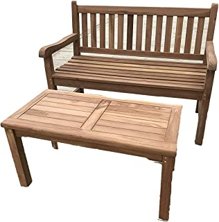 Patio Essentials Malmesbury - Rectangular Teak 2 Seater Coffee Set - 90cm Coffee Table with Two Seater Teak Bench