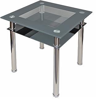 Esstisch 90x60 Küchentisch Esszimmer Tisch Chrom Speisetisch Klar ...