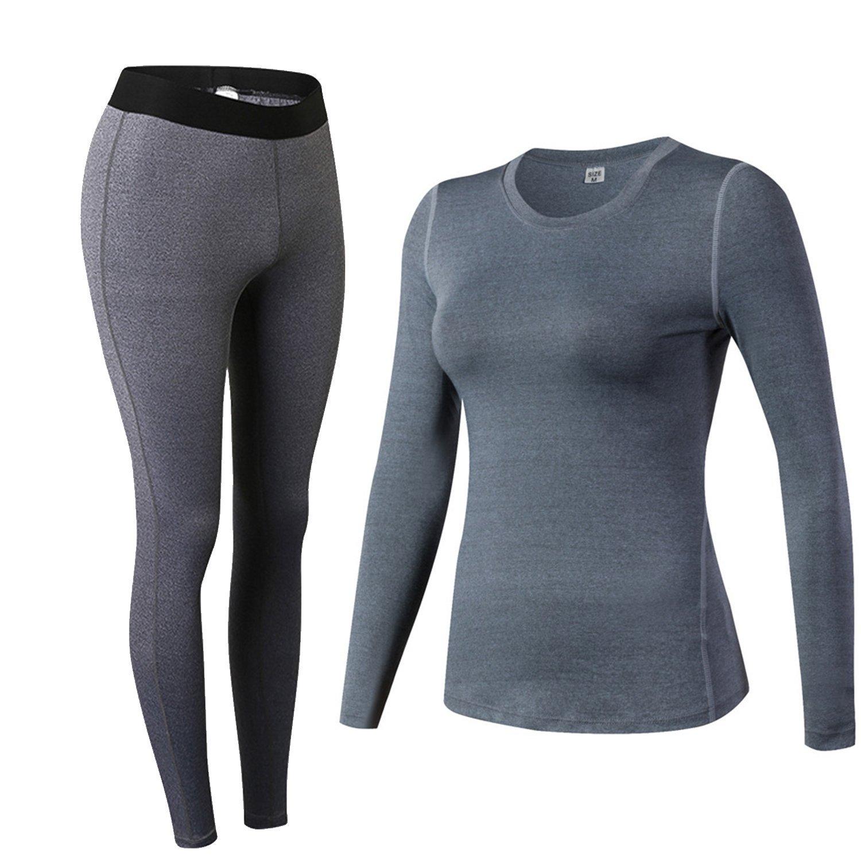 Minghe Damen Thermo-Unterw/äsche Set Stretch lang Hemd lang Hose U-Au/ßchnitt Funktionsw/äsche Skiunterw/äsche Set