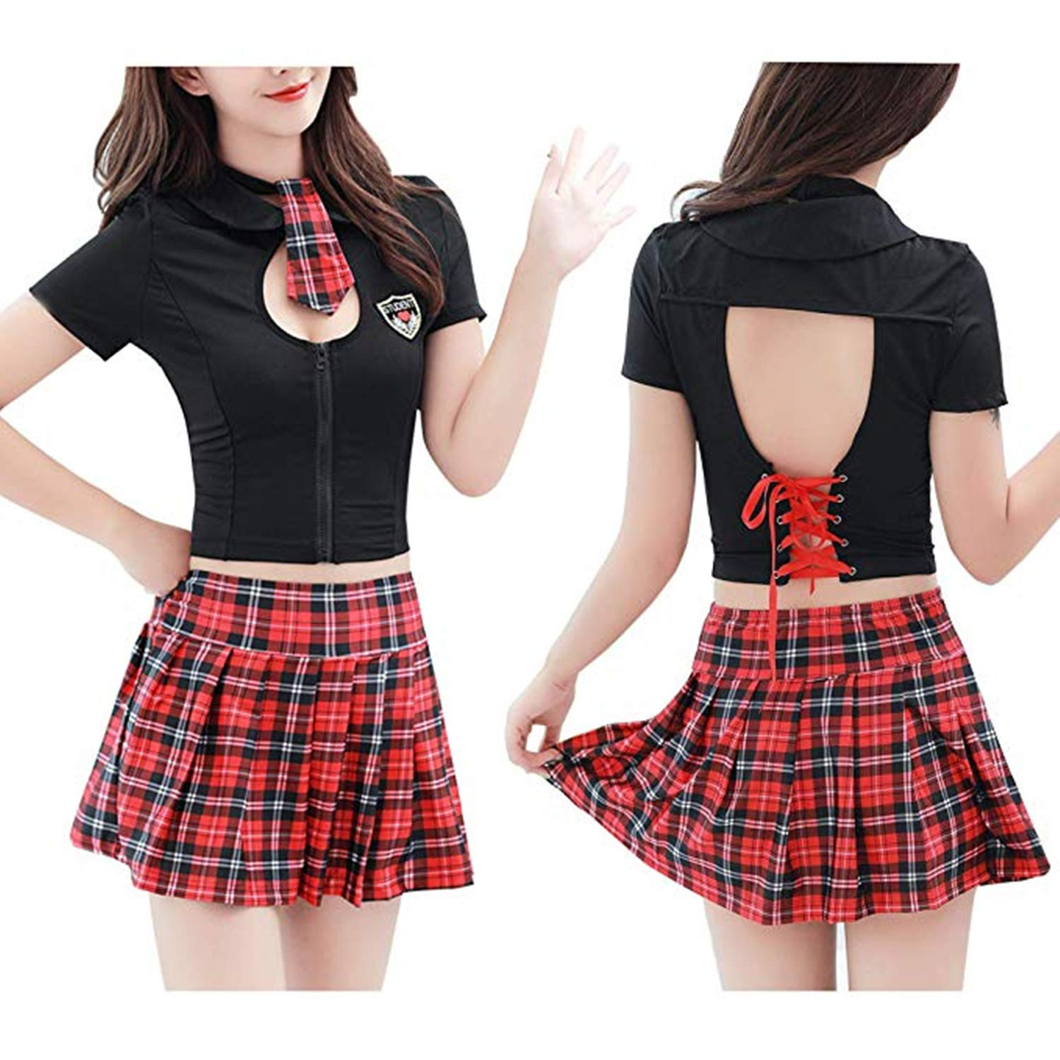 Clothing, Shoes & Accessories Realistic Sexy Womens School Girl Uniform Lingerie Dress Costume Outfit Roleplay Crop Top Costumes, Reenactment, Theater