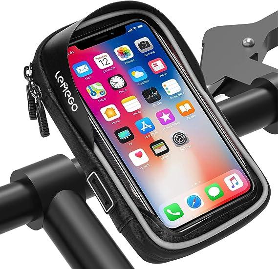 Lemego Wasserdicht Fahrrad Handyhalterung Handyhalter Lenkertasche Rahmentasche Halterung Outdoor Fahrradhalterung Motorrad Bike Lenker Tasche 360 Drehbarem
