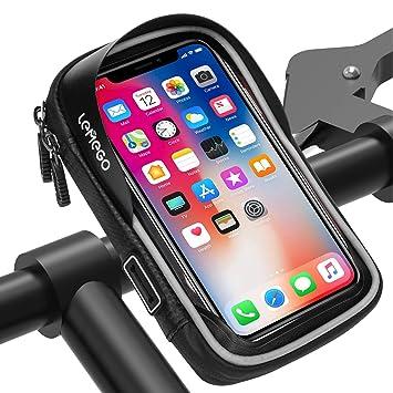 3a7911abd24 LEMEGO Bolsa Bicicleta Manillar para Ciclista Ciclismo, Bolso de Bici  Impermeables Soporte Móvil teléfono para teléfonos móviles Inferior de 6  Inches ...