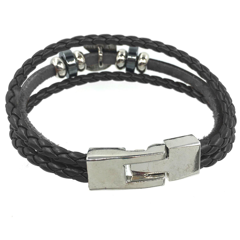 BOSYMART Fashion Leather Wristband Bangle Cuff Bracelet for Men
