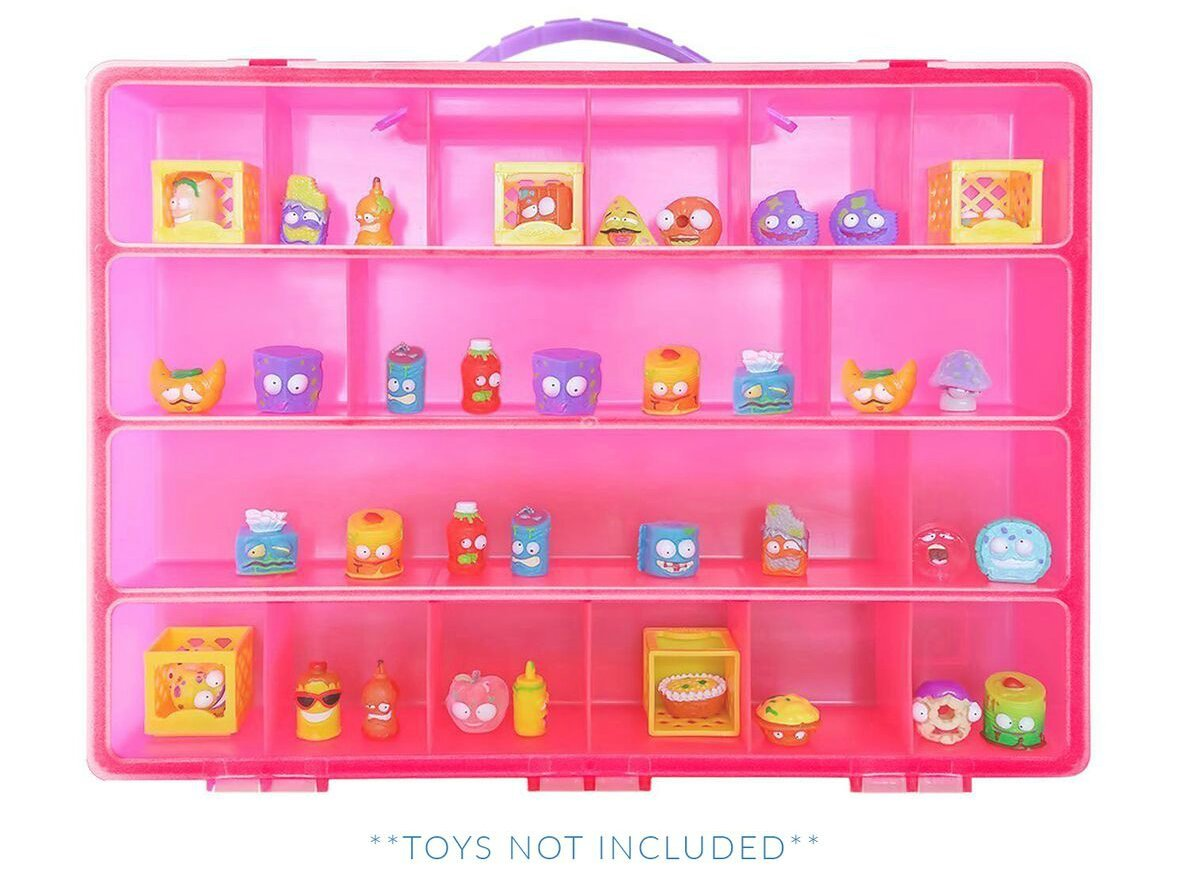 Life Made Better Playset Toy Organizer with Carrying Handle 17 Compartments and Compatible with Grossery Gang Figures Pink
