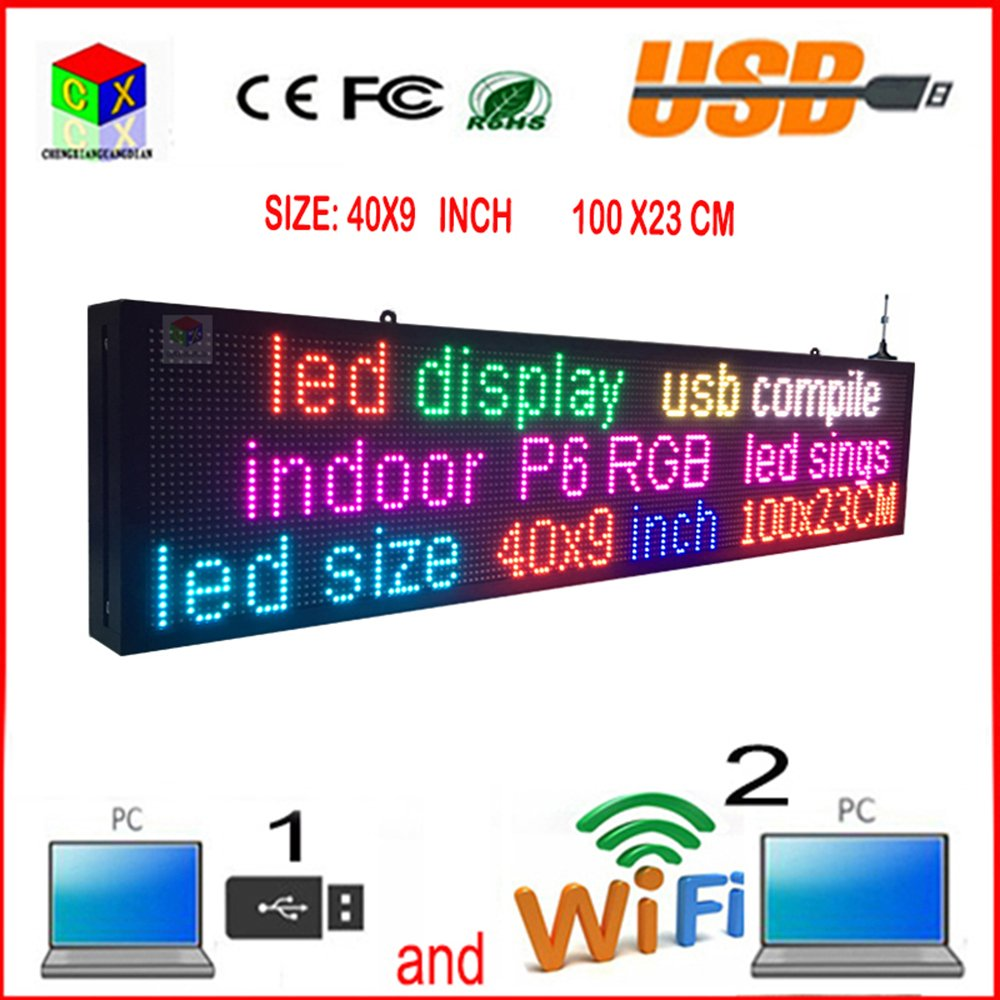 CX-P6 full-color indoor led sign and usb programmable rolling information LED display by CXGuangDian