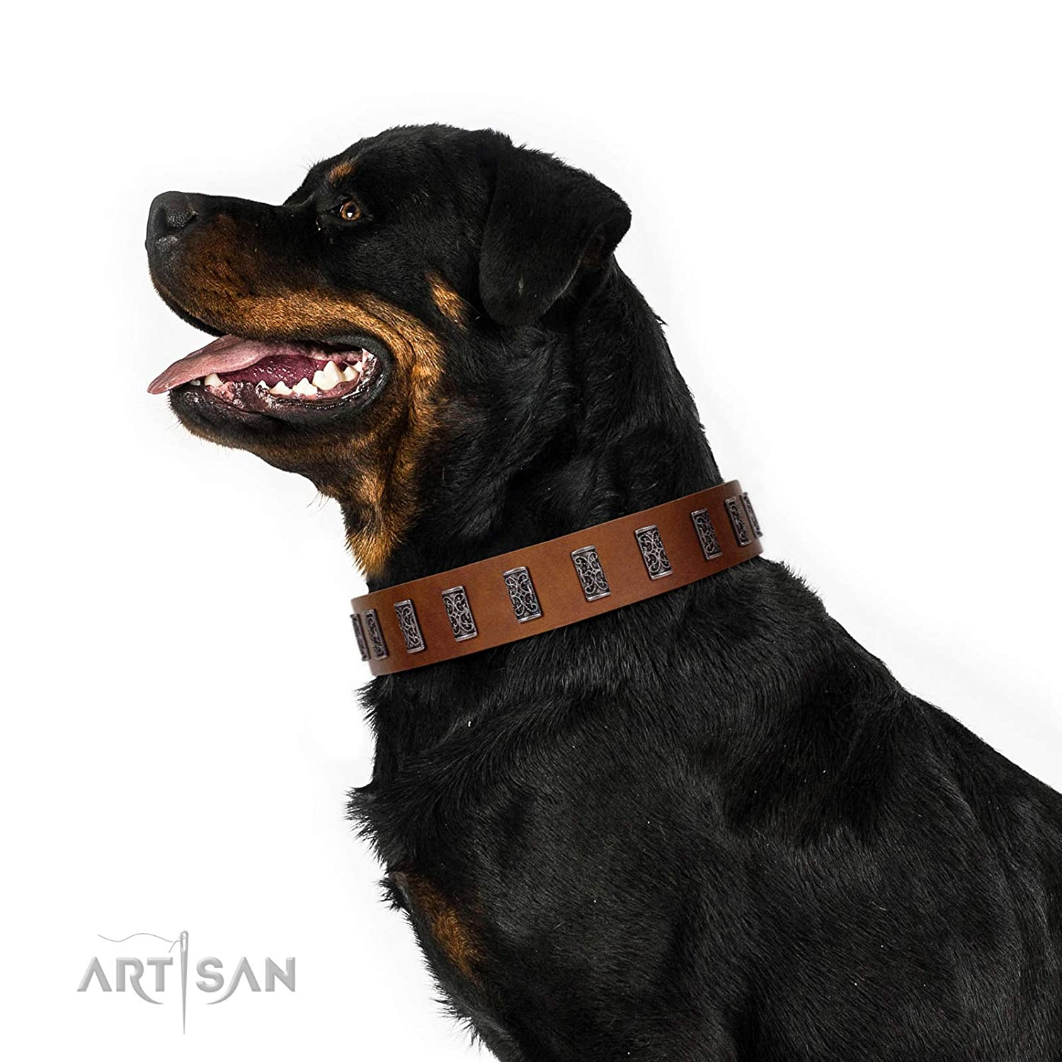 Fits for 29 inch (73cm) dog's neck size FDT Artisan 29 inch Silver Century Handcrafted Tan Leather Dog Collar 1 1 2 inch (40 mm) Wide Gift Box Included