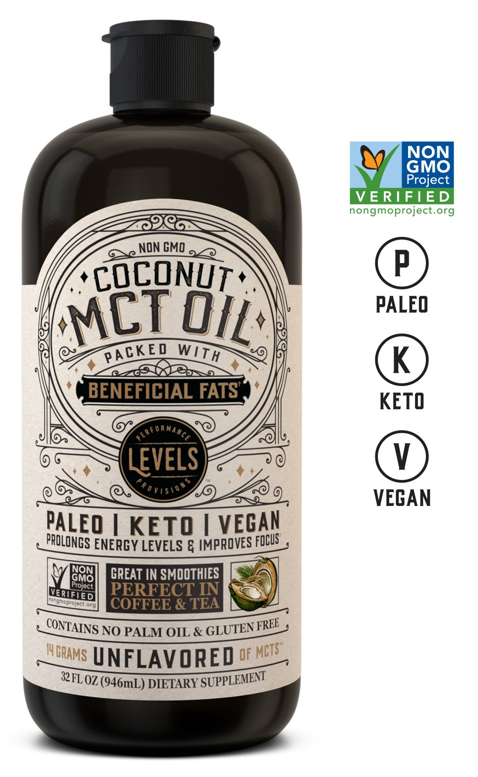 Levels 100% Coconut MCT Oil 32oz, Non-GMO Project Verified, Paleo, Keto, Vegan