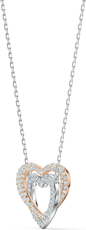 Swarovski Infinity Double Heart Halskette, Weiß, Metallmix