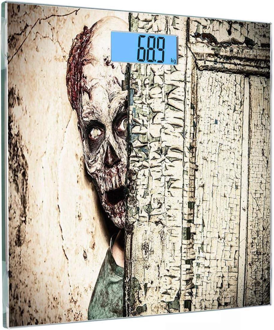 Escala digital de peso corporal de precisión Square Decoración Zombie Báscula de baño de vidrio templado ultra delgado Mediciones de peso precisas,Dead Man in Abandoned Old Hell Mystery Blood Vampire: Amazon.es: Salud