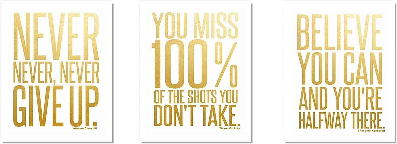 Motivational Inspirational (3-Set) Gold Foil Art Teen Boy Girl Famous Quotes Sports Wall Art Posters Decorative Prints Decor Home Office Business Classroom Dorm Gym Entrepreneur Workout Fitness (8x10)