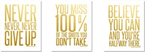 Motivational Inspirational (3-Set) Gold Foil Art Teen Boy Girl Famous Quotes Sports Wall Art Posters Decorative Prints Decor Home Office Business Classroom Dorm Gym Entrepreneur Workout Fitness (8x10)