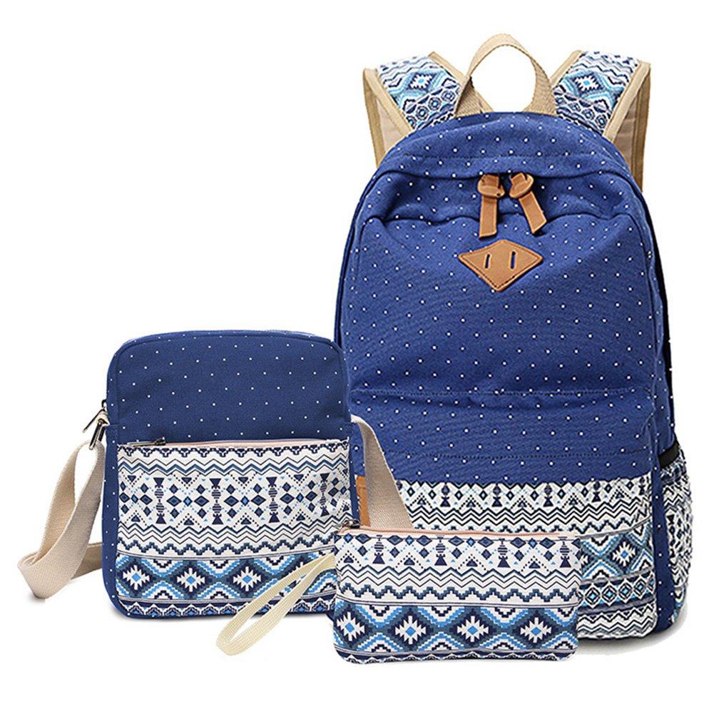 Mochilas Escolares Lona Mujer Mochila Escolar Bolsa Casual Para Backpack Chicas Bolsa De Hombro Mensajero Billetera Azul oscuro: Amazon.es: Equipaje