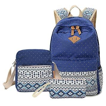 Mochilas Escolares Lona Mujer Mochila Escolar Bolsa Casual Para Backpack Chicas Bolsa De Hombro Mensajero Billetera Azul oscuro