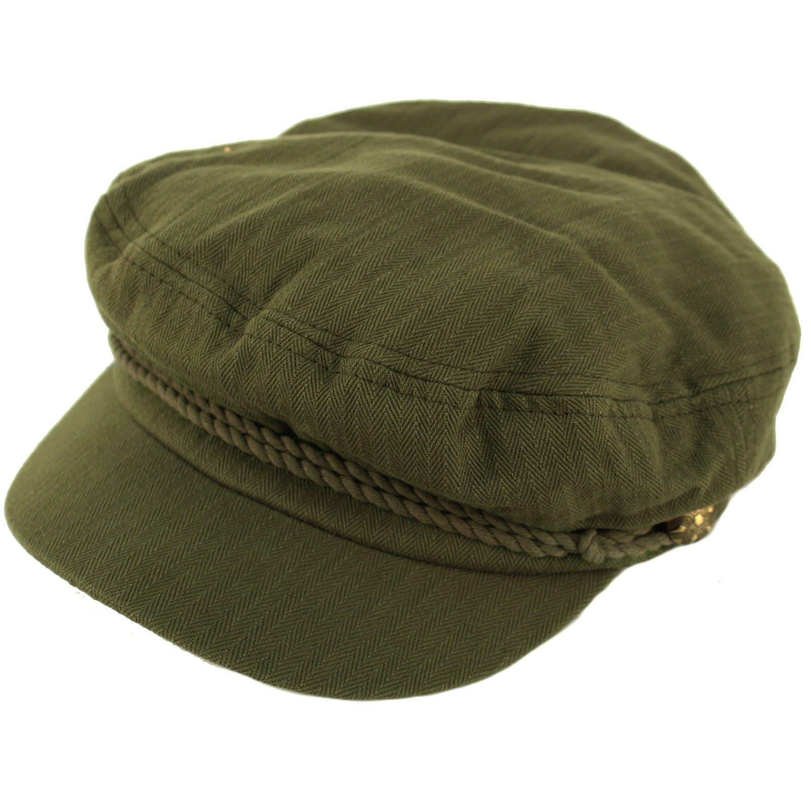 Epoch Men's Summer Cotton Greek Fisherman Sailor Fiddler Driver Hat Flat Cap Olive