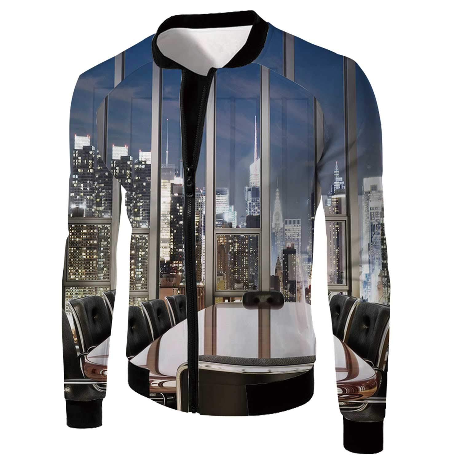 Modern Decor Classical Jacket,Business Office Conference Room Table Chairs City View at Dusk Realistic for Sports,3XL by MOOCOM
