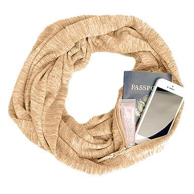 ae015aeb1028 Femme Scarf With Zipper Pocket Foulard Avec Poche Zippee Couleur Unie  ChèChe ÉCharpe Double Echarpe LéGer
