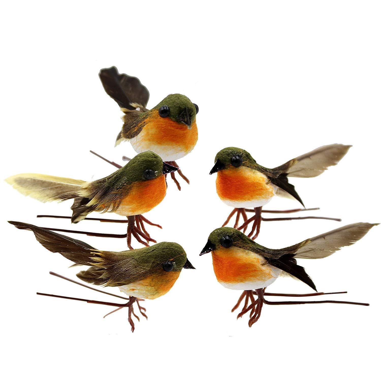JK Artificial Feather Robin Birds, 10 Pack Fake Birds Christmas Tree Decoration DIY Craft Birds, Home Garden Ornament Decor