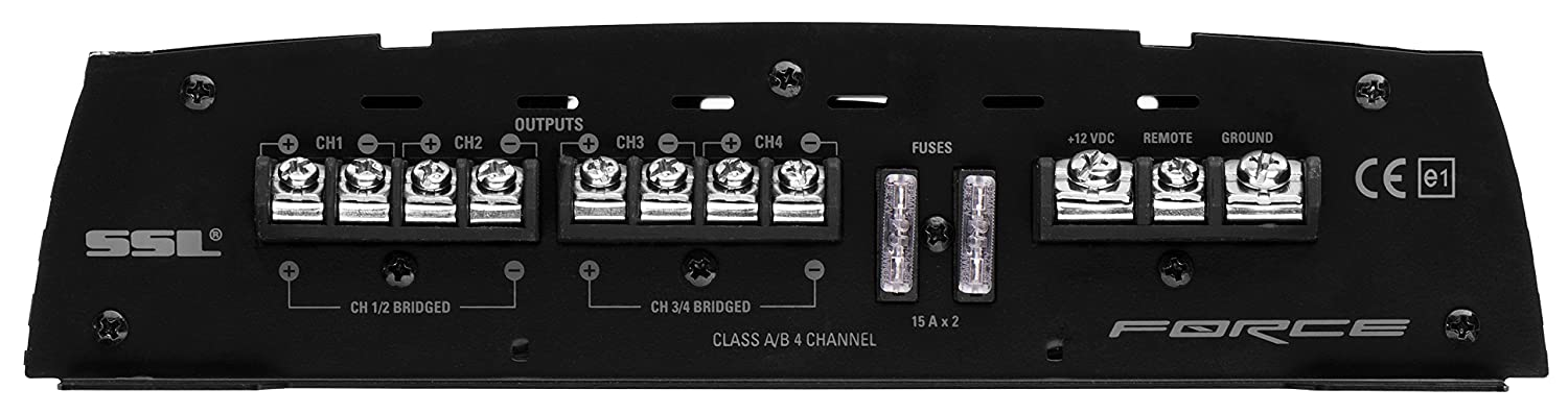 4 Channel Bridgeable Full Range Sound Storm FR1600.4 Force 1600 Watt MOSFET Car Amplifier with Remote Subwoofer Control Sound Storm Laboratories 2 to 8 Ohm Stable Class A//B