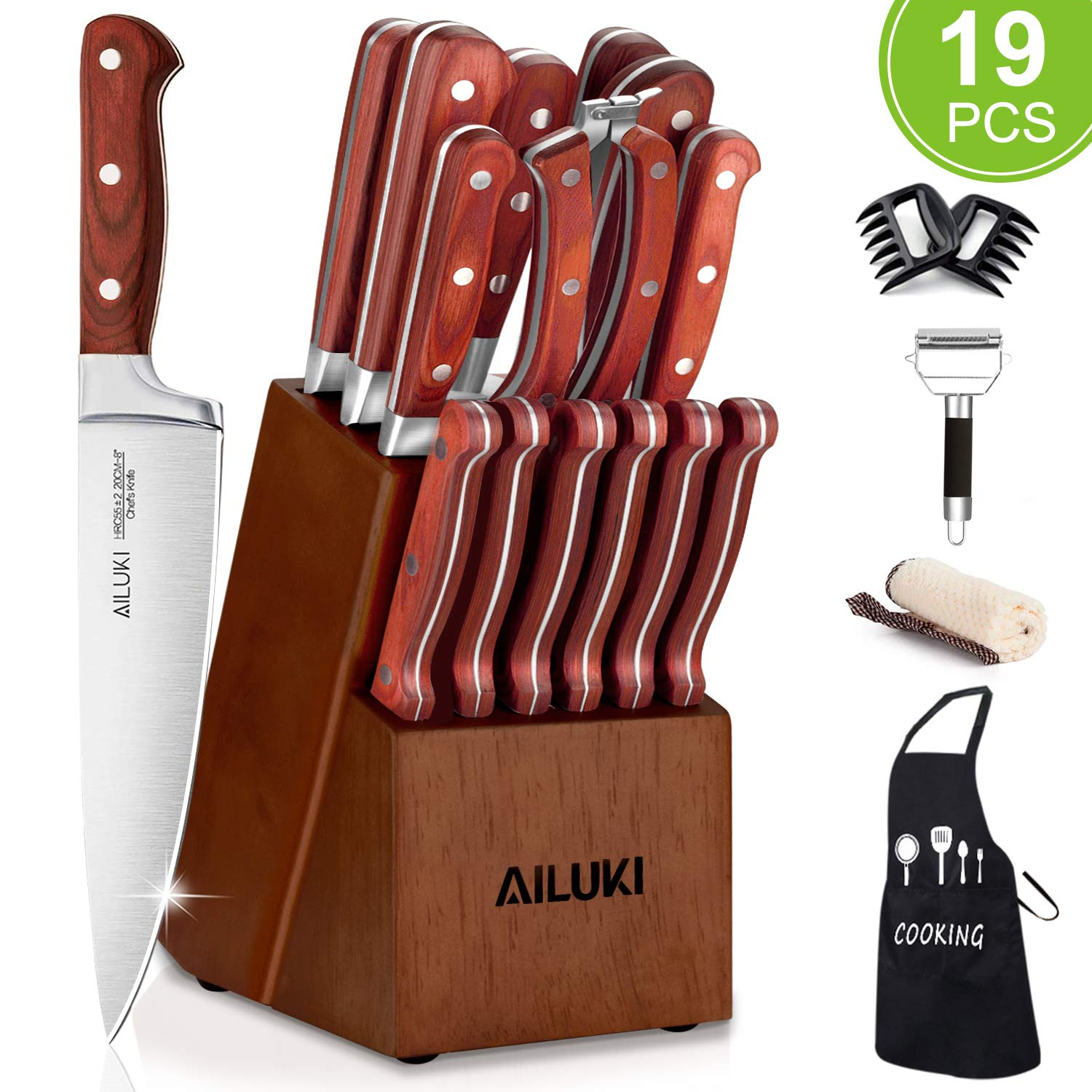 Knife Set, AILUKI 20 - Piece Kitchen Knife Set with Block Wooden and Sharpener, German High Carbon Stainless Steel Chef Knife Set, Pakkawood Ultra Sharp Full Tang Forged Knife Block Set by AILUKI