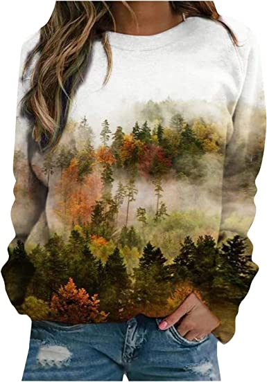 SALIFUN Womens Hoodies Pullover Graphic Pullover Sweatshirts Casual Long Sleeve Tops Pullover Hooded Blouse Fall Clothes
