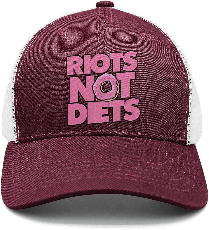 Riots not Diets Pink Donut Hip Hop Cap Men//Women Best Snapback Cap
