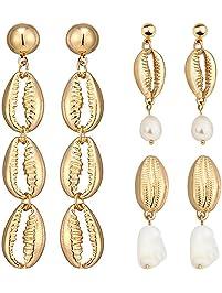 Suyi 3 Pairs of Shell Earrings Set Pendant Earrings Beach Earrings Accessories for Women Girl
