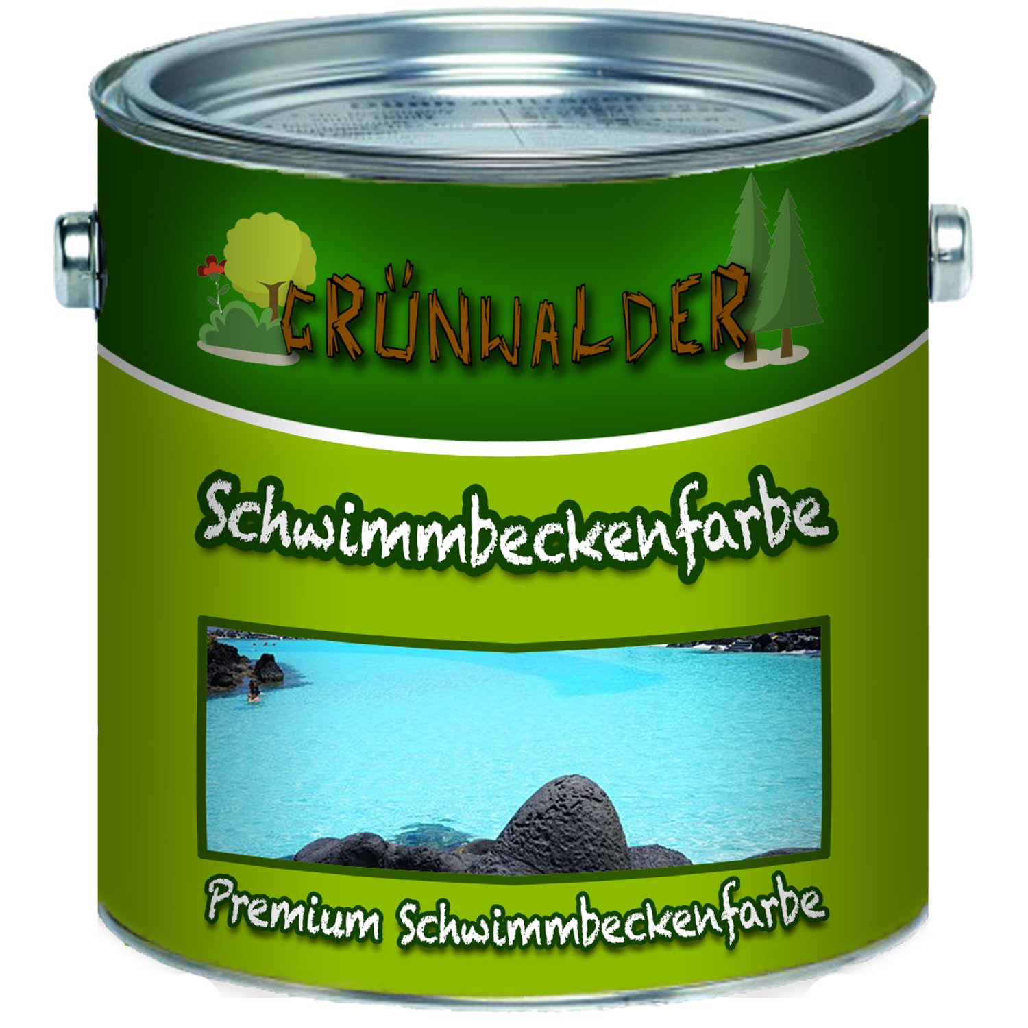 MADE IN GERMANY Grünwalder Premium Pool Colour in Blue, White, Green, Non-Toxic, Wasserundichte Pond Colour, blue Farben Löwe